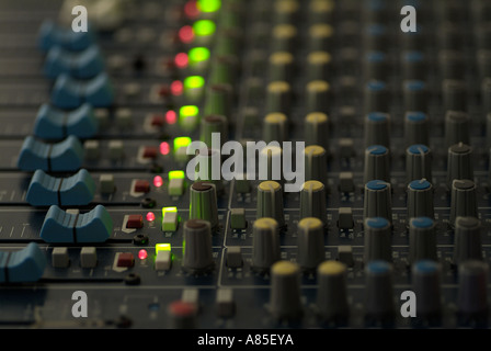 Close Up of the Controls of an Electronic Mixing Desk as Used by DJs and the Broadcasting Industry - Stock Photo
