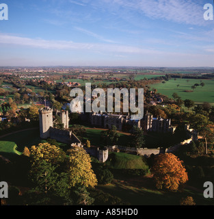 Historic Warwick Castle UK aerial view - Stock Photo