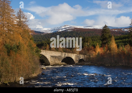 IA 93 Braemar; Invercauld Bridge across the River Dee, looking towards the old Brig o' Dee, Aberdeenshire, Scotland, - Stock Photo