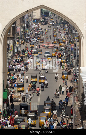 A view of Sardar Patel Road from the elevated position of the Charminar in Hyderabad, Andhra Pradesh, India. - Stock Photo