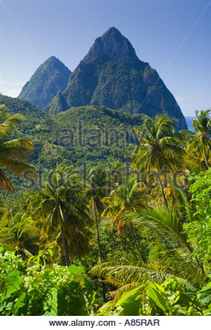 The Pitons, near Soufrière, St Lucia, Windward Islands, Caribbean - Stock Photo