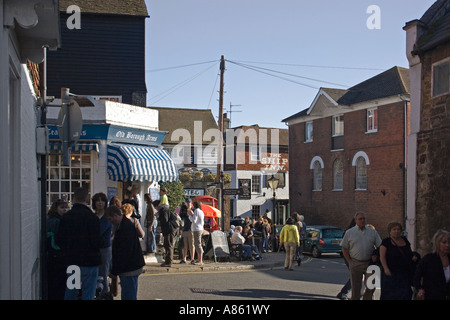Mermaid Street and The Strand Rye on a Saturday morning people walking and congregating beside public  houses The - Stock Photo