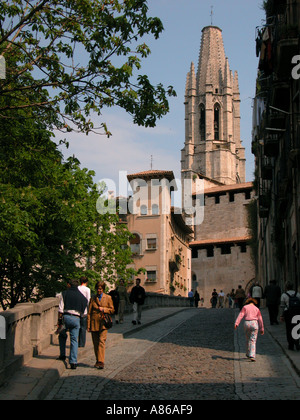 Ex collegiate church of Sant Feliu Old Town Girona Spain - Stock Photo