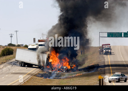 An automobile accident on Interstate 40 east of Moriarty New Mexico