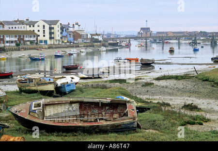 Boats on the river Adur at Shoreham shoreham by sea West Sussex - Stock Photo
