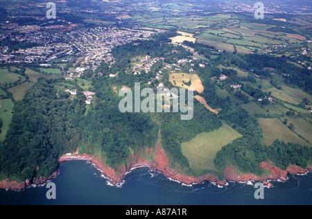 East Devon Coastline over Torbay, Aerial.  XPL 6139-480 - Stock Photo