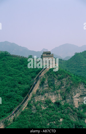 Aerial view of the Great Wall of China in Badaling China - Stock Photo