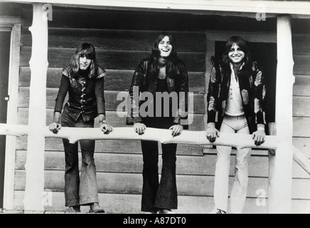 EMERSON LAKE AND PALMER Promotional photo of UK rock group about 1973. From l: Carl Palmer,Keith Emerson, Greg Lake - Stock Photo