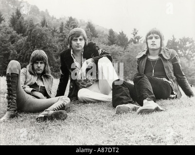 EMERSON LAKE AND PALMER  Promotional photo of UK rock group in 1973. From left : Keith Emerson, Greg Lake and Carl - Stock Photo