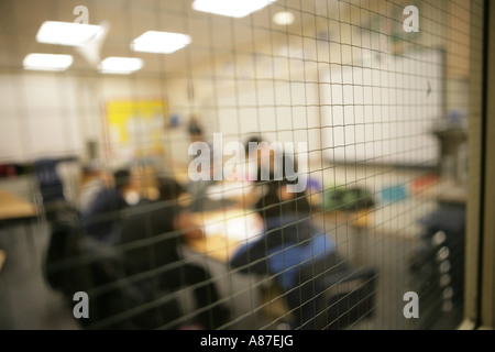Grate of meshwork in classroom - Stock Photo