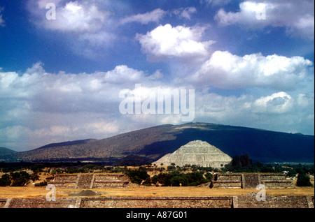 Sun Pyramid in Teotihuacan Mexico - Stock Photo