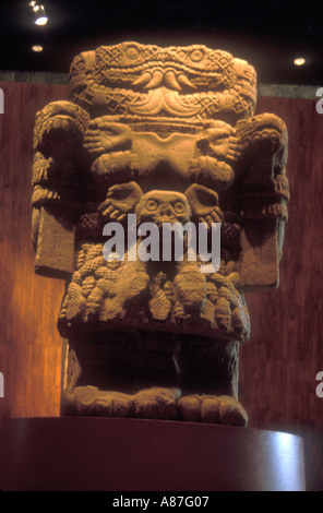 Stone statue of Coatlicue at Mexican Museum of Anthropology and historie - Stock Photo