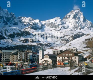 View over the resort centre towards the Matterhorn, Cervinia, Italian Alps, Italy - Stock Photo