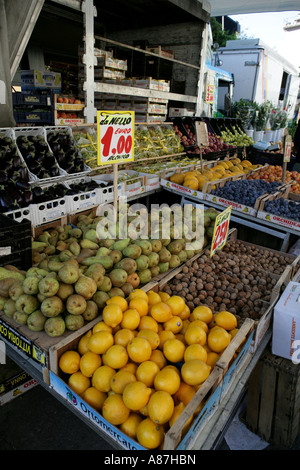 Fruit and vegetables in marketplace - Stock Photo