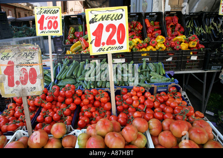 Vegetables displayed in marketplace - Stock Photo