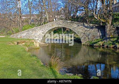 The Auld Brig Keith over the River Isla - Stock Photo