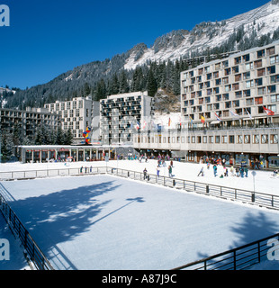 Skating Rink in Flaine Forum, Flaine, Grand Massif Ski Region, Haute Savoie, France - Stock Photo