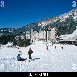 View from the slopes towards Flaine Forum, Flaine, Grand Massif Ski Region, Haute Savoie, France - Stock Photo