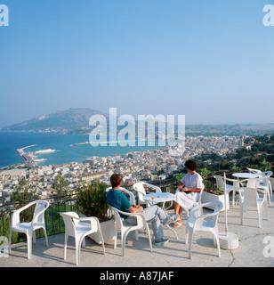 Cafe with panoramic view over the harbour, Bochali, Zakynthos Town, Zakynthos (Zante), Ionian Islands, Greece - Stock Photo