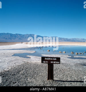 Badwater, the lowest point in the continental US at 282ft, Death Valley, California, USA - Stock Photo