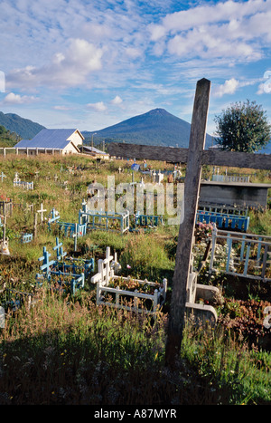 Graveyard in Hornopirén Patagonia Chile - Stock Photo