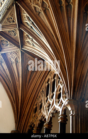 Detail of fan vaulted ceiling, interior of St George's Priory Church, Dunster, Somerset, UK - Stock Photo