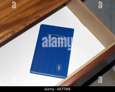 Balaclava Mauritius Gideon Bible in Drawer in Hotel Maritim Bedroom - Stock Photo