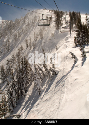 A view of the Chutes at Mt Rose Ski Area from the lift Mt Rose is located in the Sierras near Reno Nevada - Stock Photo