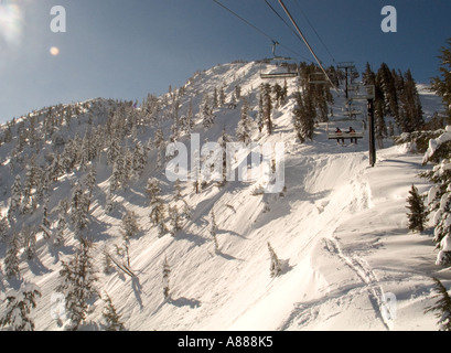 Morning sun hits the steep Chutes at Mt Rose Ski Area in the Sierras near Reno Nevada - Stock Photo