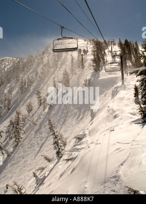 A view of the Chutes from the ski lift at Mt Rose Ski Area in the Sierras near Reno Nevada - Stock Photo