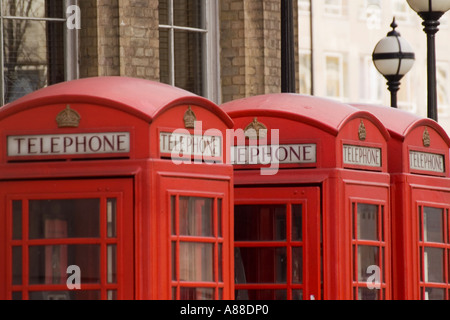 Traditional red telephone boxes in Langham Place LONDON UK - Stock Photo