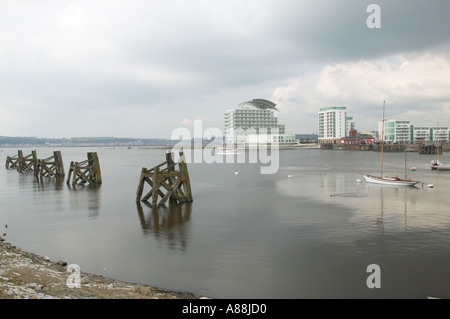 the Bay in Cardiff showing new development on the waterfront - Stock Photo