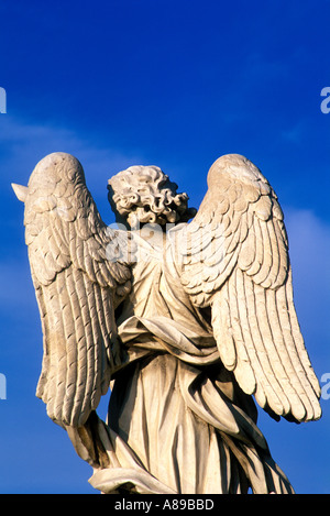 Italy Rome Angel by Bernini Ponte Sant Angelo - Stock Photo