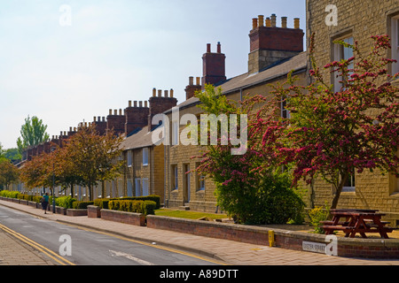 Exeter Street in the Great Western Railway village Swindon workers houses built with stone from the Box Tunnel near - Stock Photo