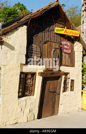 Wine cellar, historic old town of Tokaj, Unesco World Heritage Site, Hungaria - Stock Photo