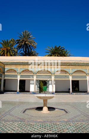 Yard with fountain Palais de la Bahia Marrakech Morocco - Stock Photo