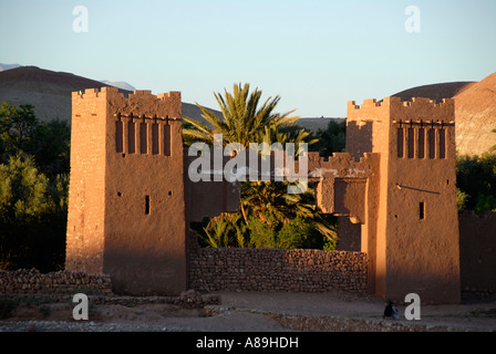 Gate traditional Berber architecture Kasbah Ait Benhaddou Morocco - Stock Photo