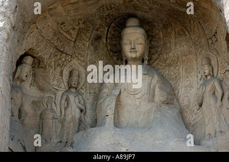 China shanxi yungang shiku caves near datong a buddha statue carved inside a grotto - Stock Photo