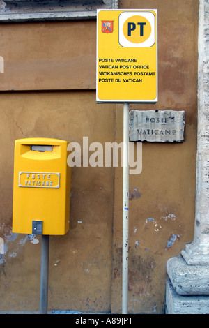 Yellow letter box at the post office in the Vaticane, Vaticane City, Rome, Latium, Italy - Stock Photo