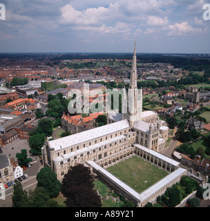 Cathedral and cloisters Norwich UK aerial view - Stock Photo