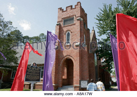 Alabama, AL, South, Bullock County, Union Springs, Prairie Street, Red Door Theatre, theater, former Trinity Episcopal - Stock Photo