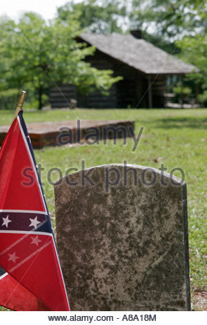Alabama, AL, South, Bullock County, Union Springs, Prairie Street, Old City Cemetery, Confederate soldier gravestone, - Stock Photo