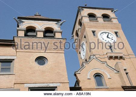 Alabama Tuskegee Macon County Courthouse 19th century Romanesque Revival style gargoyles - Stock Photo