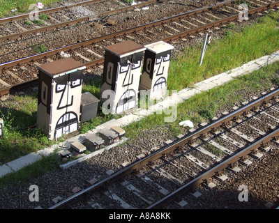 angry faces by a rail track - Stock Photo