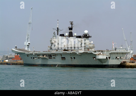 HMS Illustrious aircraft carrier Royal Navy Portsmouth Harbour UK Dockyard - Stock Photo