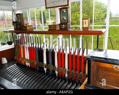 Interior of an early 20th century railway signal box at Beamish museum of Northern Life - Stock Photo