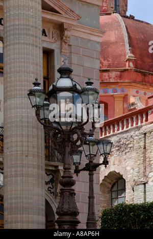 ROMAN COLUMNS and STREET LAMPS at THE TEATRO JUAREZ which is a historical THEATER GUANAJUATO MEXICO - Stock Photo