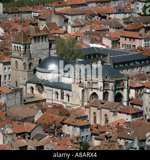 Cathedrale St-Etienne Cahors from Mont-St-Cyr Lot Midi-Pyrenees France - Stock Photo