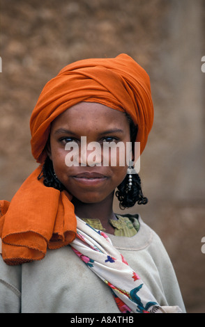 Oromo girls come to town from nearby villages to sell produce in the market , Harar , Ethiopia - Stock Photo