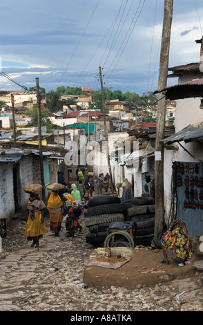 Street scene in the old walled city, Harar, Ethiopia - Stock Photo